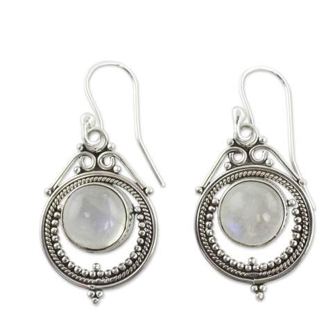 NOVICA Handmade Sterling Silver 'Mumbai Moons' Moonstone Earrings (India)