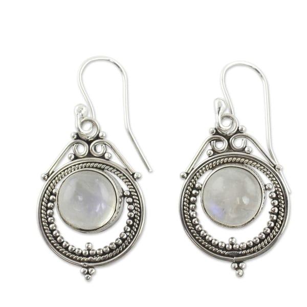 NOVICA Handmade Sterling Silver 'Mumbai Moons' Moonstone Earrings (India). Opens flyout.
