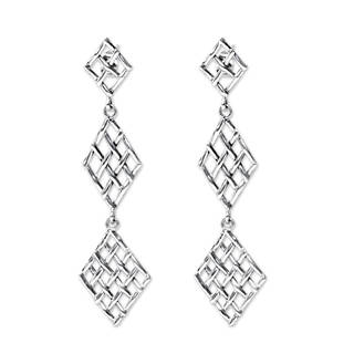 Handmade Sterling Silver 'Diamond Weave' Earrings (Indonesia)
