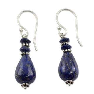 Handmade Sterling Silver 'Delhi Dusk' Lapis Lazuli Earrings (India)