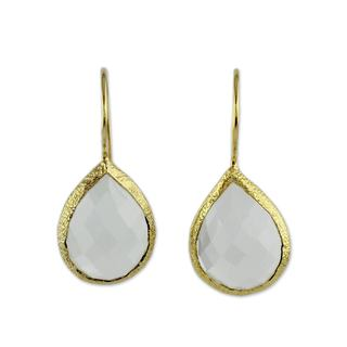 Handcrafted Gold Overlay 'Nature's Brilliance' Quartz Earrings (India)