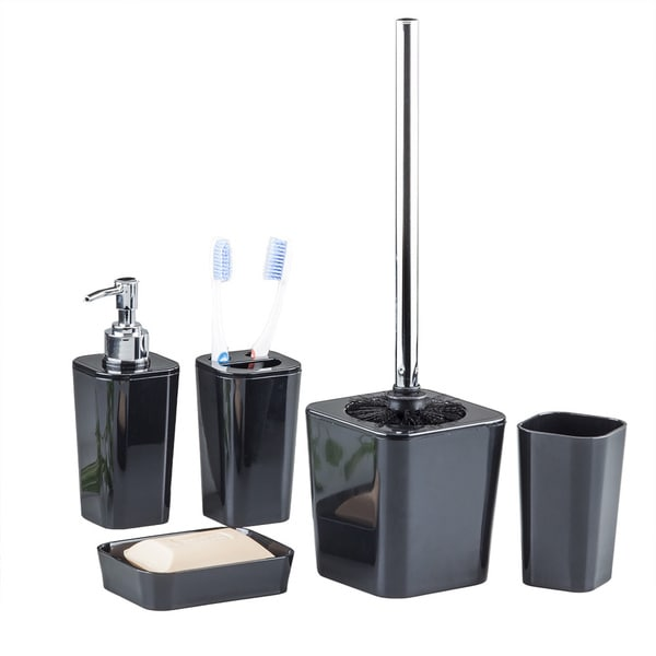 6 piece bathroom accessory set black free shipping on for Black bath accessories sets
