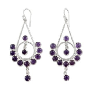 Handcrafted Sterling Silver 'Circles' Amethyst Earrings (India)