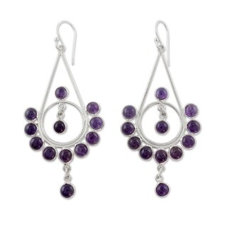 Handmade Sterling Silver 'Circles' Amethyst Earrings (India)