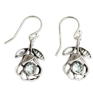 Handcrafted Sterling Silver 'Eternal Rose' Topaz Earrings (Indonesia)
