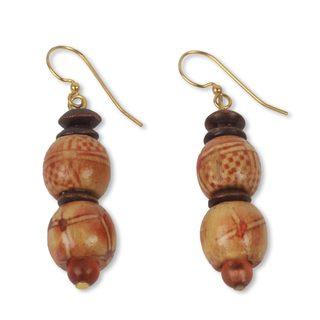 Handmade Sese Wood 'Peace' Earrings (Ghana)