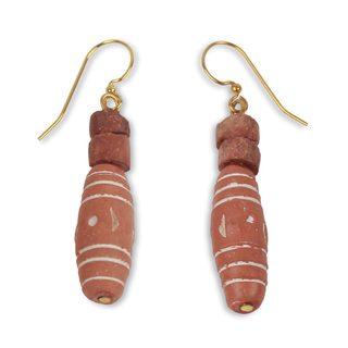 Handcrafted Bauxite Terracotta 'God Lives' Earrings (Ghana)