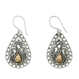Handcrafted Gold Overlay 'Silver Lace' Earrings (Indonesia)