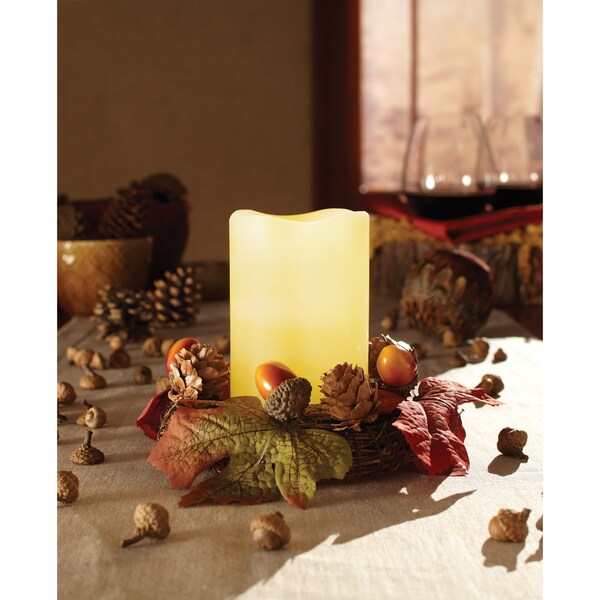 Apothecary & Company LED Wreath with Flameless Candle and Acorns