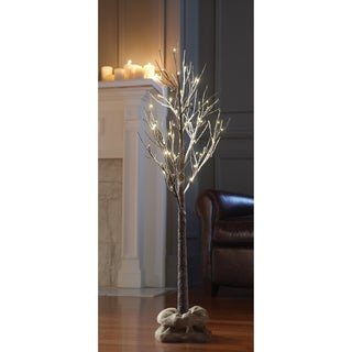 Apothecary & Company Decorative White/Brown 4-foot LED Snow Tree with Burlap Sack