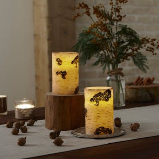 Apothecary & Company 2-Piece Flameless LED Candle Set With Timer - Birch Wood