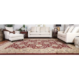 Somette Hand-knotted Kashan Red Oriental Rectangular Wool Area Rug (10' x 14')