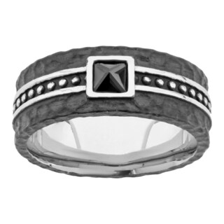 Black-plated Stainless Steel Men's Cubic Zirconia Ring (4mm)