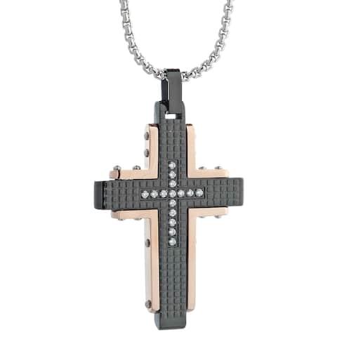 Stainless Steel Men's Two-Tone Cubic Zirconia Cross Pendant Necklace
