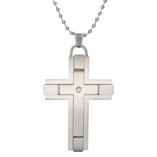 Stainless Steel Cubic Zirconia Cross Pendant Necklace
