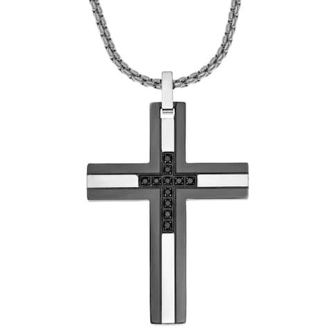 Men's Stainless Steel 1/6ct TDW Black Diamond Cross Pendant Necklace