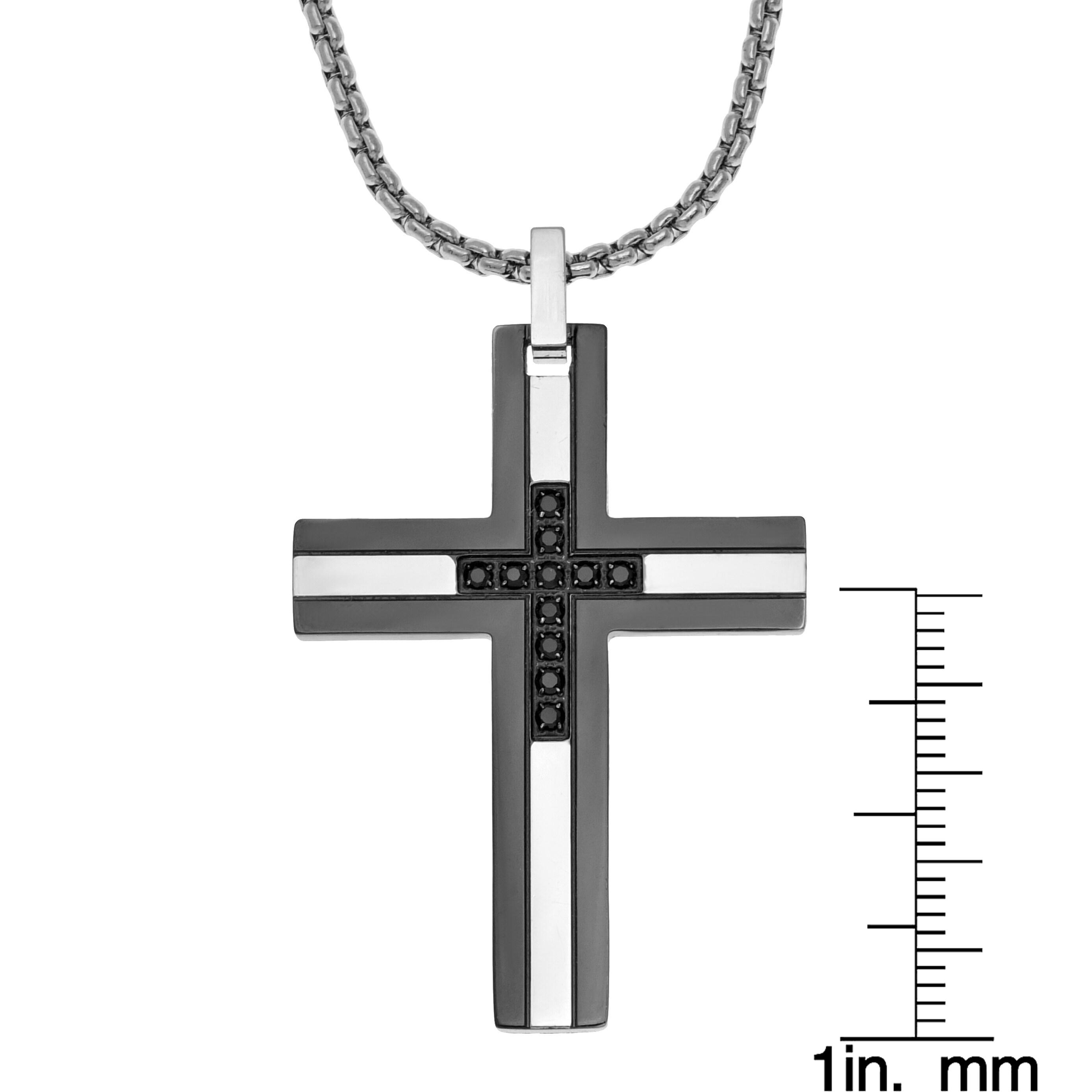 Shop Men S Stainless Steel 1 6ct Tdw Black Diamond Cross Pendant Necklace Overstock 10591122