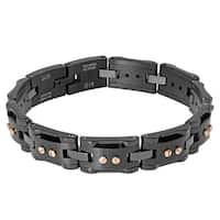 Men's Black-plated Stainless Steel and Ceramic Bracelet