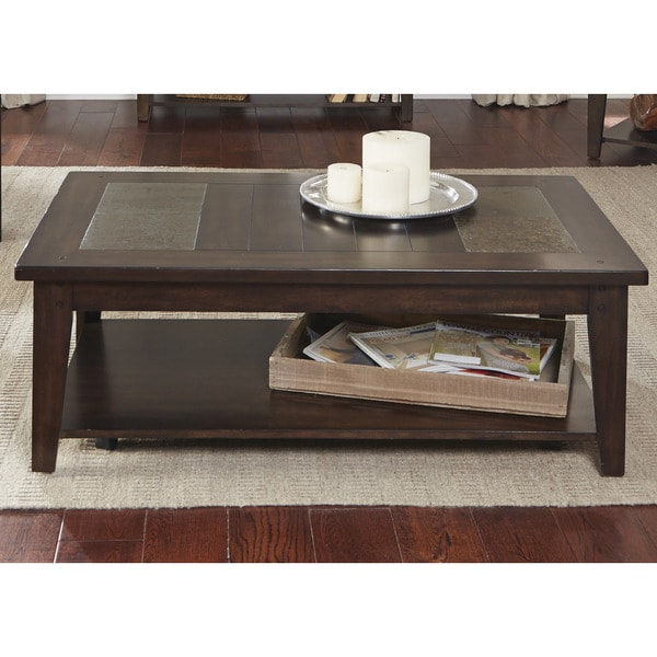 Hearthstone Dark Oak And Slate Cocktail Table Free Shipping Today