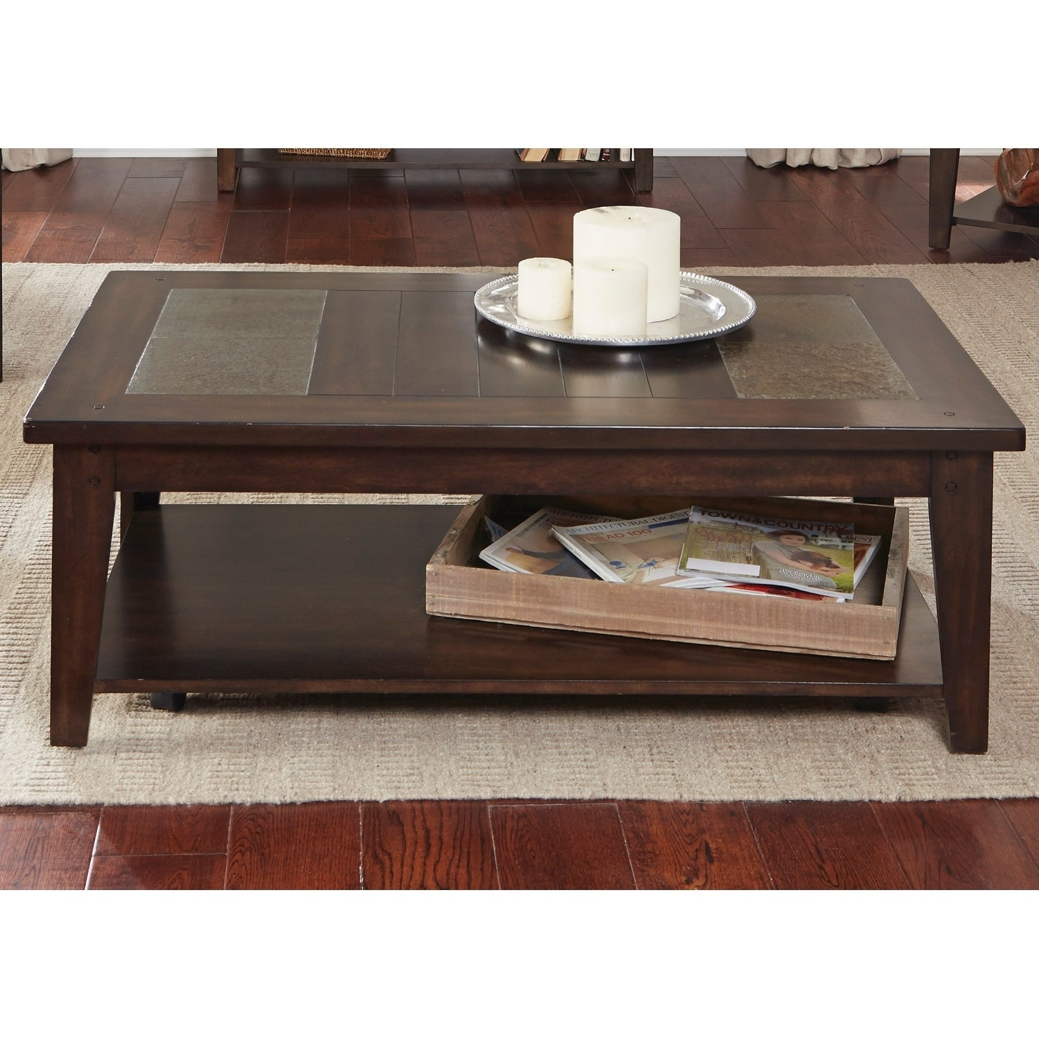 Liberty Hearthstone Dark Oak and Slate Cocktail Table, Brown