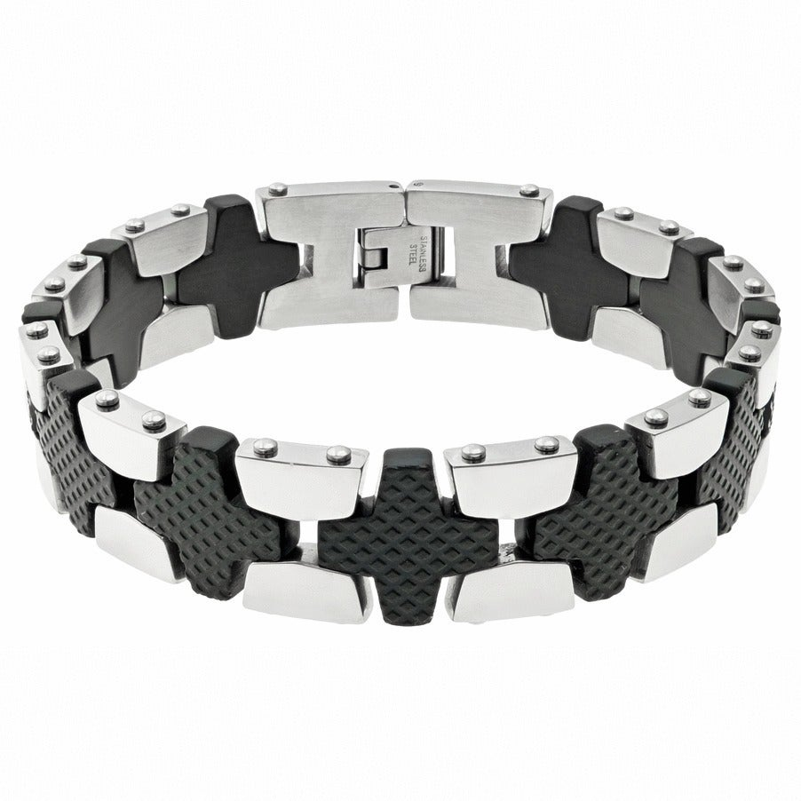 AMAZOn Men's Stainless Steel Two-tone Textured Bracelet (...
