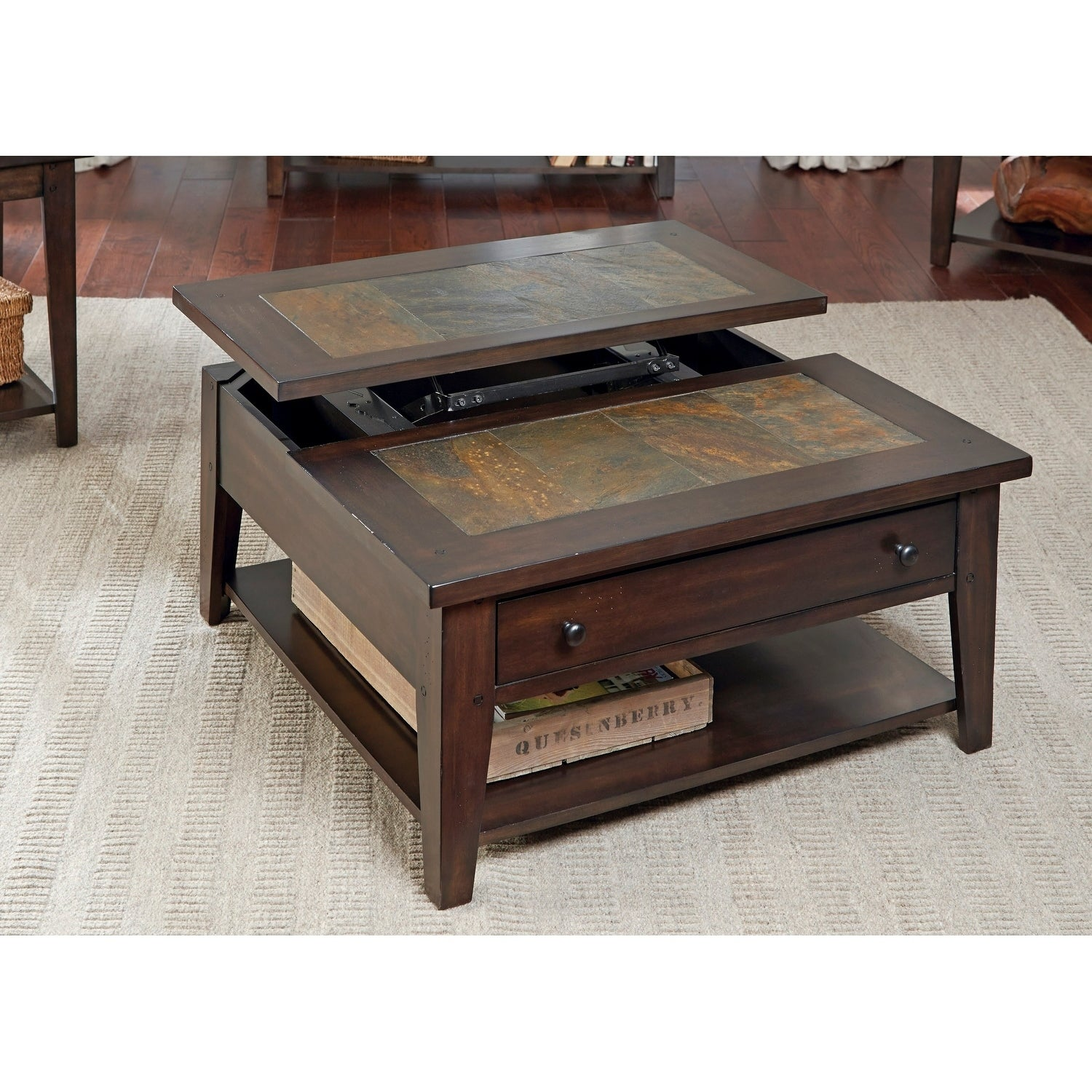 Liberty Hearthstone Dark Oak and Slate Lift-Top Square Co...