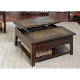 Hearthstone Dark Oak and Slate Lift-Top Square Cocktail Table