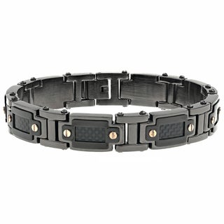Black-plated Stainless Steel Men's Carbon Fiber Bracelet