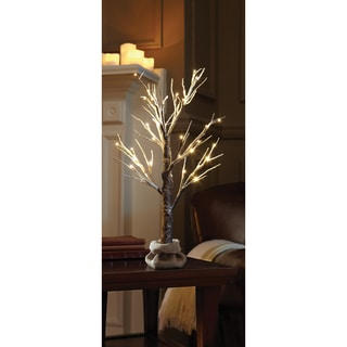 Order Home Collection Decorative 2ft White Glitter Tree with Burlap Sack and Twine
