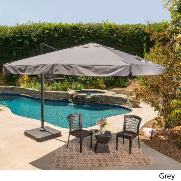 Outdoor Merida 9.8 Foot Canopy Umbrella With Base By Christopher Knight  Home   Free Shipping Today   Overstock.com   17665260