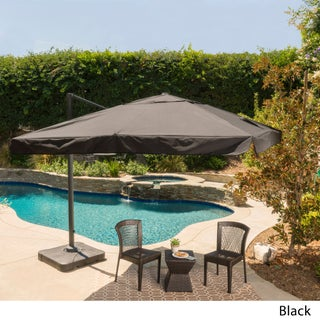 Outdoor Merida 9.8-foot Canopy Umbrella with Base by Christopher Knight Home (Option: Black)