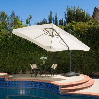 Outdoor Merida 9.8-foot Canopy Umbrella with Base by Christopher Knight Home (Option: Beige)