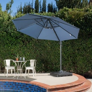 Outdoor Puebla 9.8 Foot Canopy Umbrella With Base By Christopher Knight Home