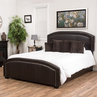christopher knight home conor upholstered bonded leather bed set - Leather Bed Frame