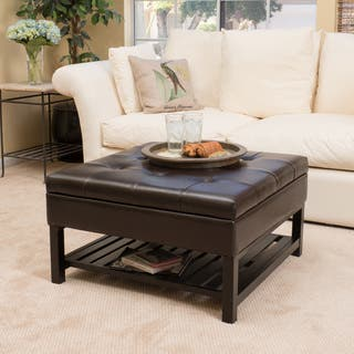 Miriam Wood Square Storage Ottoman Bench with Bottom Rack by Christopher Knight Home|https://ak1.ostkcdn.com/images/products/10591229/P17665266.jpg?impolicy=medium