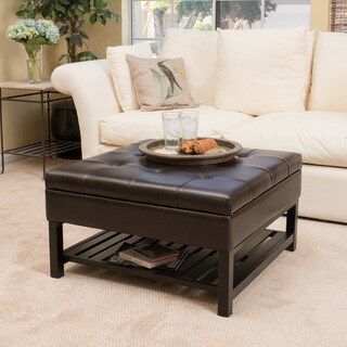 miriam wood square storage ottoman bench with bottom rack by christopher knight home