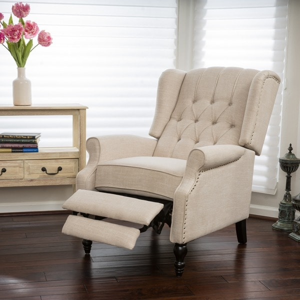 Walter Light Beige Fabric Recliner Club Chair By