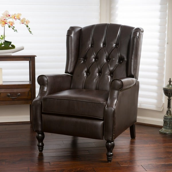 Christopher Knight Home Walter Brown Bonded Leather Recliner Club Chair    Free Shipping Today   Overstock.com   17665269