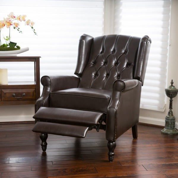 Christopher Knight Home Walter Brown Bonded Leather Recliner Club Chair