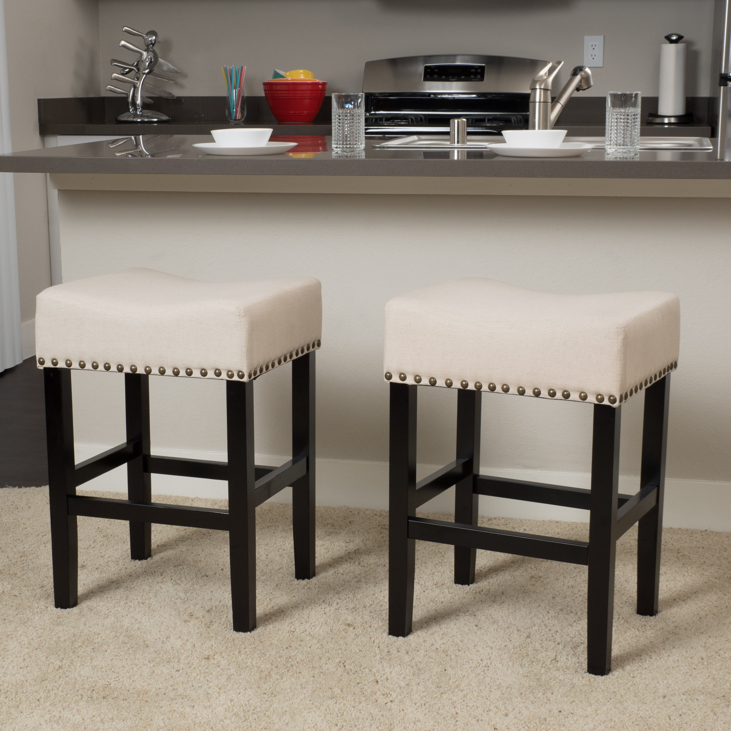 Laramie 26-inch Fabric Counter Stool (Set of 2) by Christ...
