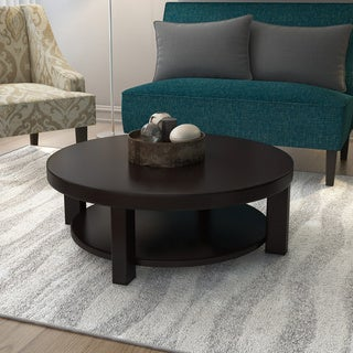 Furniture of America Daxon Modern Cappuccino Round Coffee Table