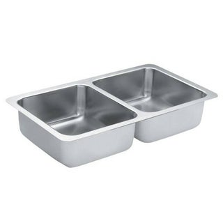 Moen 31.25-inch x 18-inch Stainless Steel 18 Gauge Double Bowl Sink