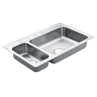 Moen 33-inch x 22-inch Stainless Steel 20 Gauge Double Bowl Drop in Sink
