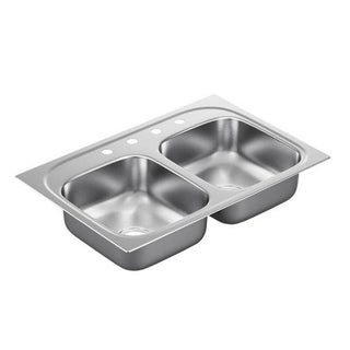 Moen 33-inch x 22-inch Stainless Steel 22 Gauge Double Bowl Drop in Sink