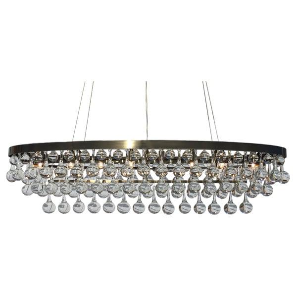 Celeste Rectangular Oval Glass Drop Crystal Chandelier, Antique Brass - Shop Celeste Rectangular Oval Glass Drop Crystal Chandelier, Antique