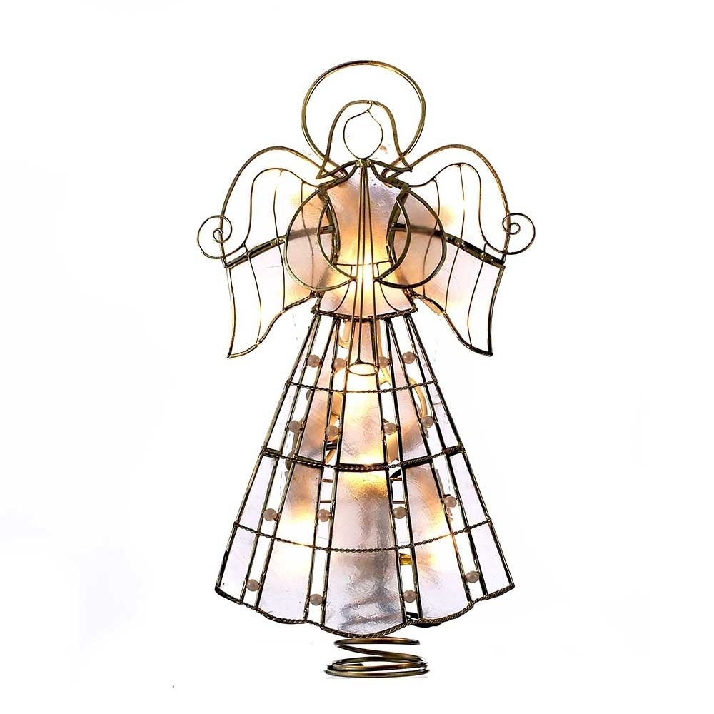 Kurt S. Adler 10-Light 9.75-Inch Capiz Angel Treetop with...