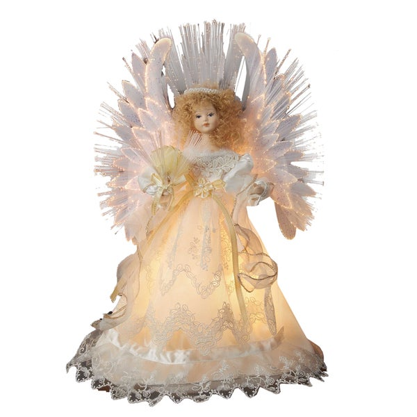 Shop Kurt Adler 14 Inch Fiber Optic Ivory Angel Treetop