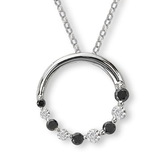 14K White Gold 1/4ct TDW Black And White Diamond Circle Journey Necklace (G-H, SI2-SI3)