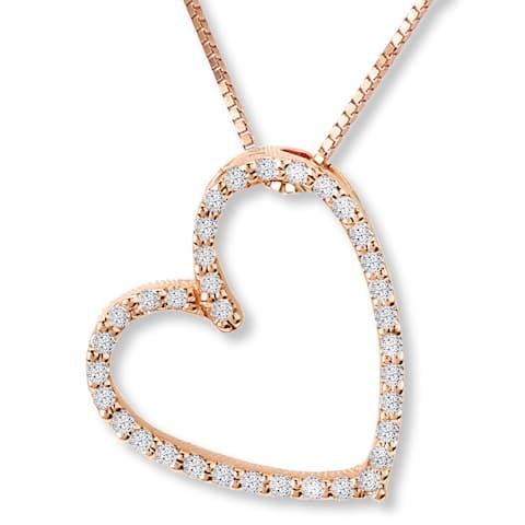 Avanti 14k Rose Gold 1/10ct TDW Diamond Heart Necklace