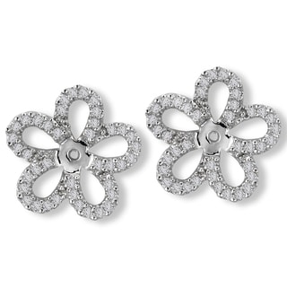 14K White Gold 1/3ct TDW Flower Diamond Earring Jackets (G-H, SI2-SI3)